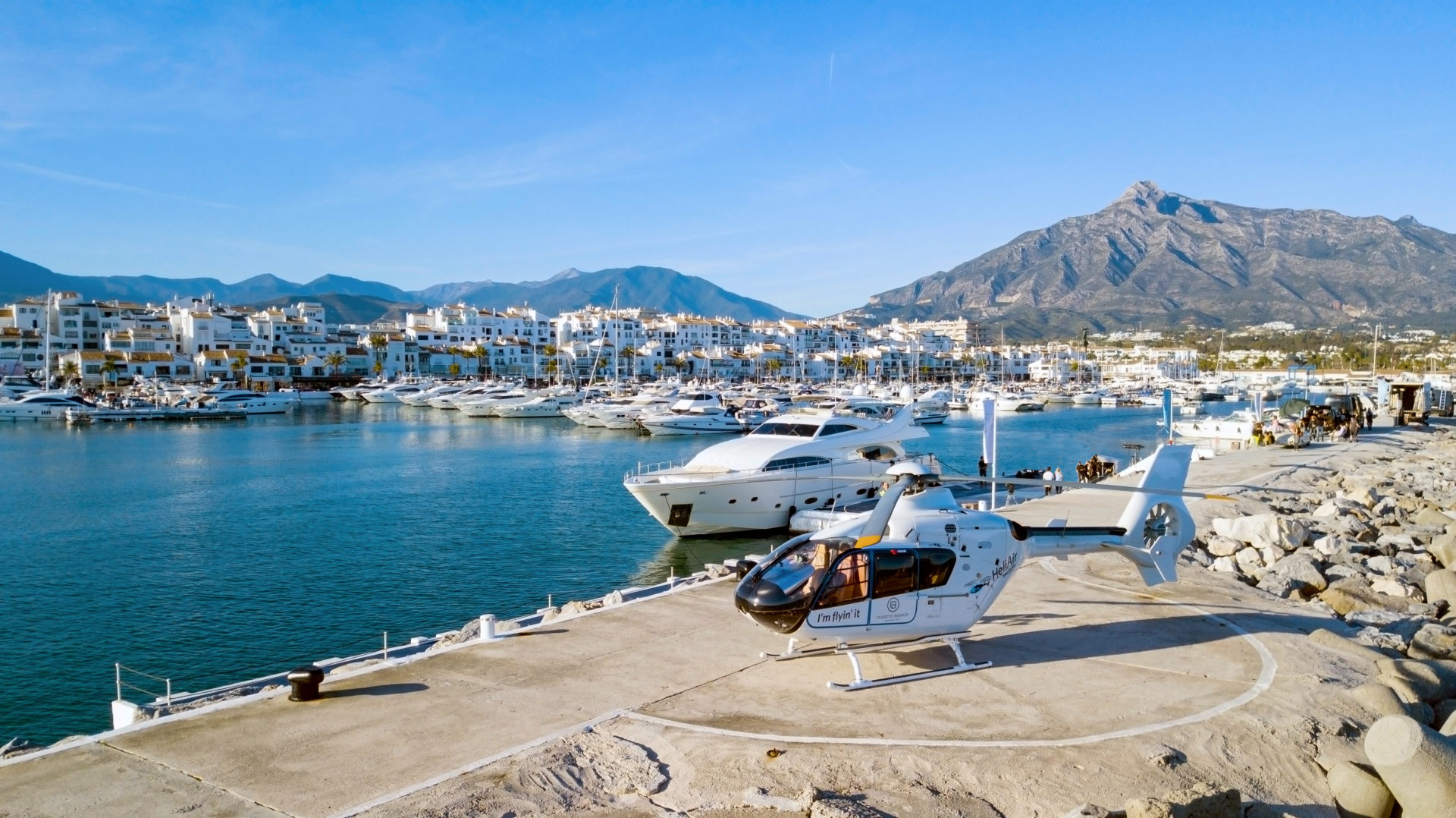 Puerto Banus and La Concha with helicopter